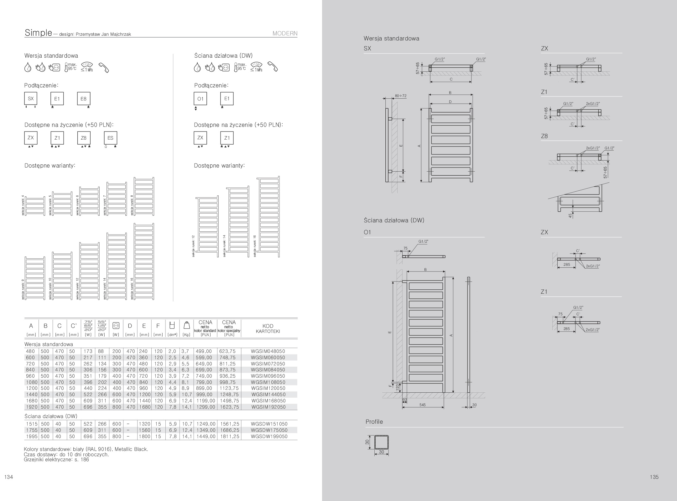 5ab298bcd4 Grzejnik Simple Terma Grzejnik Simple - rysunek techniczny